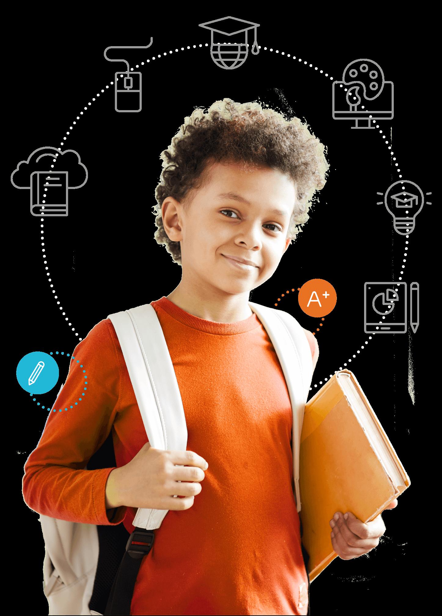 SOS-Prof - Jeune enfant avec livre et sac à dos avec icônes des avantages de trouver un tuteur
